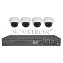 Bionics K104: Σετ Κλειστού Κυκλώματος Τηλεόρασης (CCTV): 4 κάμερες Dome 600 TVL, καταγραφικό (DVR) 4 καναλιών Full D1 και 4 καλώδια 18 μ.