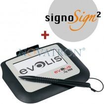 "Evolis Sig100 + SigniSign2: Ταμπλέτα ηλεκτρονικής χειρόγραφης υπογραφής 4"" μονόχρωμη με το λογισμικό SignoSign/2"