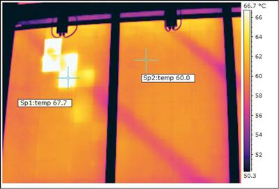 Θερμογραφική απεικόνιση ηλιακού πάνελ